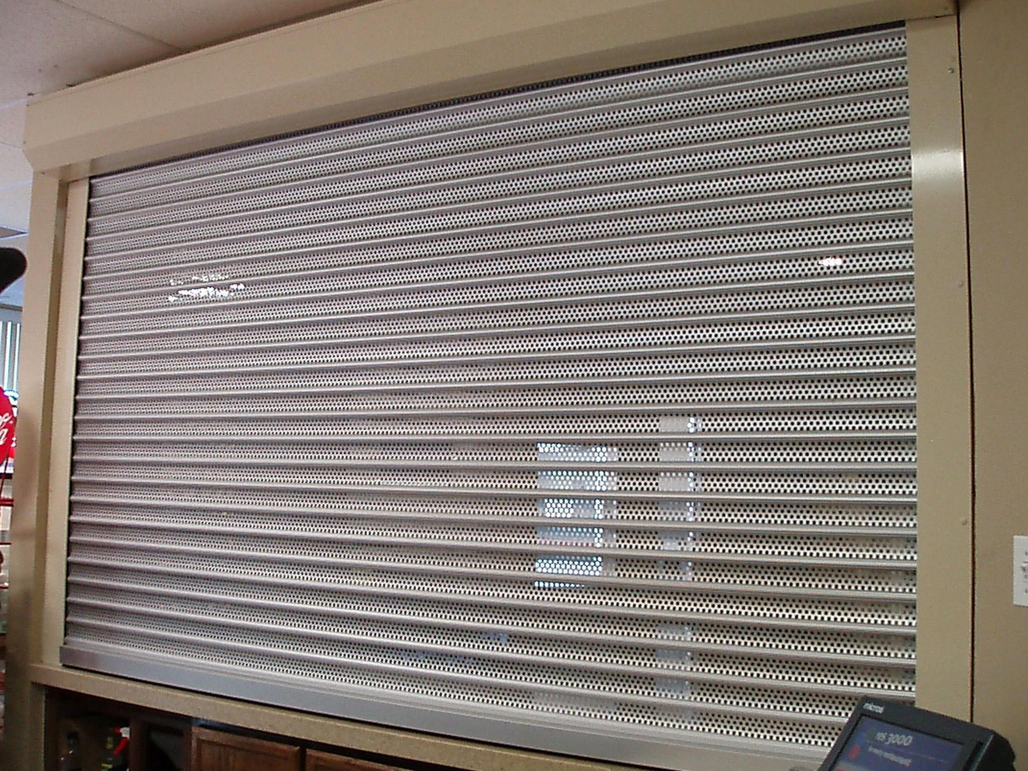 561 Series perforated roll shutter left inside view