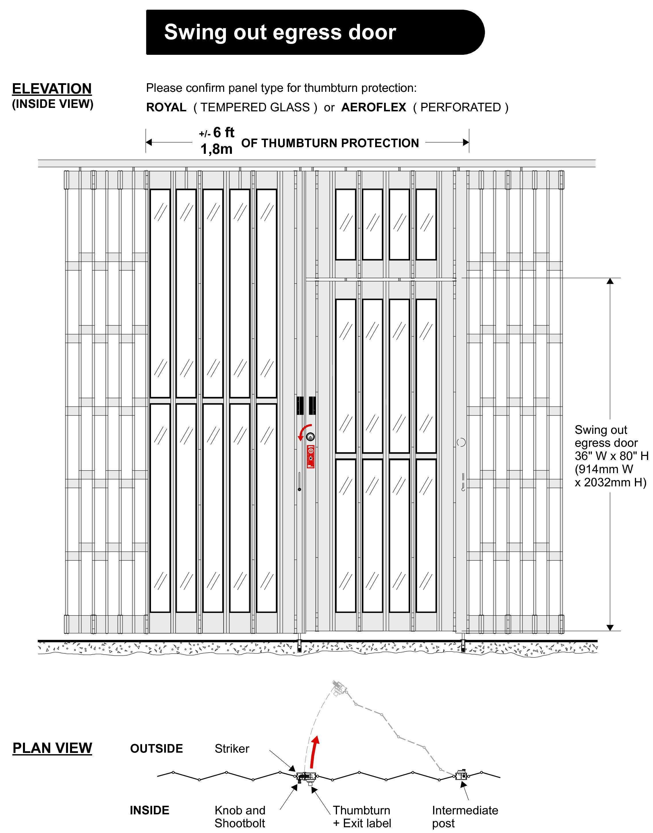 swing out egress door for sliding grille