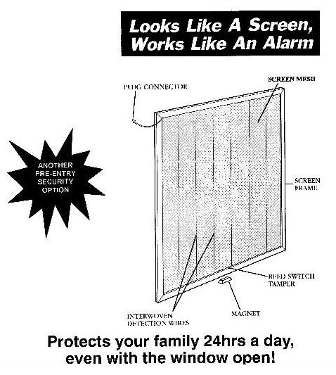 window door security wire mesh screen alarm