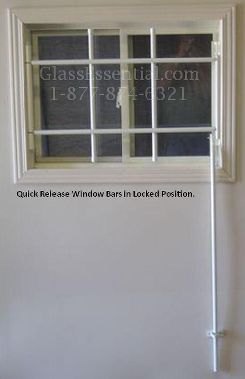 Quick Release Hinged Window Bars Closed Position
